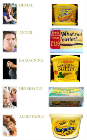 Depression, Tree, and Gold: DENIAL  Can't Believe  It's Not  Budtler!  Original  Sueet Cream Buttermilk  ANGER  What,not  butter!  £1.19  BIG  VALUE  PACK  with added  Buttermilk  preds tre rom the dg  FOR A DEIGHIEVL BUTTER-LIKE TAST  23 7 4  BARGAINING  gold Soft  Couldit be  Butter  lesteral  Tree  getable ol spread t16(kf  10--  DEPRESSION  unbelieveabe  This is not butter  Unbelieveable  R  This is not butter  250  ACCEPTANCE  UNSALTED  KOSHER FOR  UNSALTED  Margarine  KOSHER FOR  EMOH PASSOVER The stages of acceptance