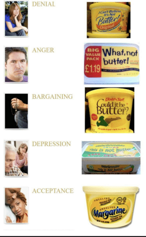 5 stages of grief: DENIAL  Can't Believe  It's Not  Original  What.not  butter!  ANGER  BIG  VALUE  PACK  £119  BARGAINING  ulditbe  utte?  DEPRESSION  amtnelie  s is not butten  r unbelieveable  nis  witer  ACCEPTANCE  UNSALTED 5 stages of grief