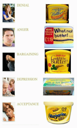 me irl: DENIAL  Can't Believe  It's Not  uter  Original  ANGER  BIG  VALUE  PACK  What,not  butter!  with oddc  £119  ● Buttermilk  BARGAINING  oulditbe  utter?  DEPRESSION  als iS not brtter  believenbie  This is n0  250  ACCEPTANCE  INSALTED  KOSHER OR  Maraaiine me irl
