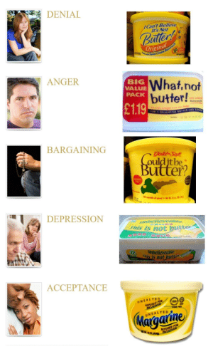 The five stages of denial: DENIAL  ICan't Believe  It's Not  Bate  riginal  Sueet Cream  ANGER  BIG  VALUE  PACK  What,not  butter!  with adde  ● Buttermilk  £1.19  FOR  DELIGHTFIL BUTTER LIKE TAS7  BARGAININGG  ulditbe  utter  Free  70%vegetable wil spread. Net wt 16 acl1A/454,  DEPRESSION  This is not buter  滑潤考  TUnbelieveable  ais is not butte  250公克  ACCEPTANCE  NSALTED  KOSHER FOR  Ye2  UNSALTED  KOSHER FOR The five stages of denial