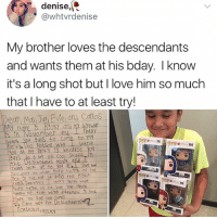 "Love, Memes, and Yo: "", denise,  @whtvrdenise  My brother loves the descendants  and wants them at his bday. I know  it's a long shot but I love him so much  that I have to at least try!  Dean, Mdl1  Evleand Carlos  s ih November dnd fedlly  Want Nou 9uS to  Pan+y  oy dt m RartY iS because Yo  to my  S o d lot of Cool Stuf  the De ScendahtS movle  lted -look-4R to-you, dll'I love how  lou dont let wht Peofle think of You  et in the waY o doing the Right  thtn9. Sore tes worry doyt what  tdlght re-that-being, different  s 920,-  Ps, Caht walt for Descendants Let's help make it happen KSF. 🥗❤️"