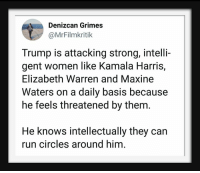 Gent: Denizcan Grimes  @MrFilmkritik  Trump is attacking strong, intelli-  gent women like Kamala Harris,  Elizabeth Warren and Maxine  Waters on a daily basis because  he feels threatened by them.  He knows intellectually they can  run circles around him.