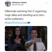 so proud!!!!! (@mrfilmkritik on Twitter) 👆check out our story for coverage from today's MarchForOurLives: Denizcan James  @MrFilmkritik  Millennials watching Gen Z organizing  huge rallies and standing up to zero  action politicians.  so proud!!!!! (@mrfilmkritik on Twitter) 👆check out our story for coverage from today's MarchForOurLives