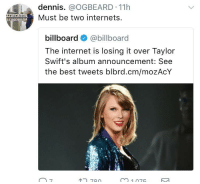 <p>It&rsquo;s official y'all.. Black twitter is a seperate entity to twitter (via /r/BlackPeopleTwitter)</p>: dennis. @OGBEARD 11h  Must be two internets.  klo.  billboard@billboard  The internet is losing it over Taylor  Swift's album announcement: See  the best tweets blbrd.cm/mozAcY  7  780  m1075 <p>It&rsquo;s official y'all.. Black twitter is a seperate entity to twitter (via /r/BlackPeopleTwitter)</p>