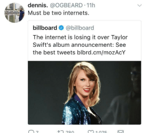 Its official y'all.. Black twitter is a seperate entity to twitter: dennis. @OGBEARD 11h  Must be two internets.  klo.  billboard@billboard  The internet is losing it over Taylor  Swift's album announcement: See  the best tweets blbrd.cm/mozAcY  7  780  m1075 Its official y'all.. Black twitter is a seperate entity to twitter