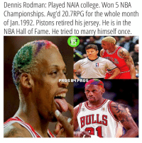 College, Dennis Rodman, and Denny's: Dennis Rodman: Played NAIA College. Won 5 NBA  Championships. Avg d 20. 7RPG for the whole month  of Jan. 1992. Pistons retired his jersey. He is in the  NBA Hall of Fame. He tried to marry himself once  PROS  PROS  PROS BH PROS Rodman was savage but crazy😂 Who rebounds like him today?