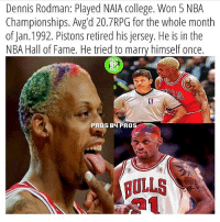 College, Dennis Rodman, and Denny's: Dennis Rodman: Played NAIA College. Won 5 NBA  of Jan.1992. Pistons retired his jersey. He is in the  NBA Hall of Fame. He tried to marry himself once.  PR05  ROS  PROS BHPROS  BULLS What a savage 😂