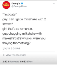 Denny's, Date, and Girl: Denny's  @DennysDiner  Denny's  first date*  guy: can l get a milkshake with 2  straws?  girl: that's so romantic  guy, chugging milkshake with  makeshift straw tusks: were you  thaying thomething?  1/14/18, 3:24 PM  View Tweet activity  2,423 Retweets 8,633 Likes Me🍨irl