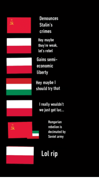 Army, History, and Hungary: Denounces  Stalin's  crimes  Hey maybe  they're weak,  let's rebel  Gains semi-  economiC  liberty  Hey maybe l  should try that  I really wouldn't  we just got luc...  Hungarian  rebelion is  decimated by  Soviet army
