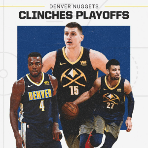 The Denver Nuggets are back in the playoffs for the first time since 2013!: DENVER NUGGETS  CLINCHES PLAYOFFS  DENVER15  WU The Denver Nuggets are back in the playoffs for the first time since 2013!