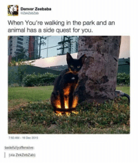 walk in the park: Denver Zeebaba  OZekZebZab  When You're walking in the park and an  animal has a side quest for you.  7:50 AM 16 Dec 2015  tastefullyoffensive:  (via zekzebzab)