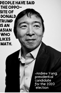 Donald Trump: DEOPLE HAVE SAID  THE OPPO  SITE OF  DONALD  TRUMP  IS AN  ASIAN  WHO I  LIKES  MATH.  -Andrew Yang  presidential  candidate  for the 2020  election