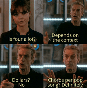 chrispalmermusic:  Pop songs just all sound almost the same: Depends on  the context  Is four a lot?  Chords per pop  song? Definitely  Dollars?  No chrispalmermusic:  Pop songs just all sound almost the same