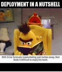 in a nutshell: DEPLOYMENT IN A NUTSHELL  With Ernie furiously masturbating just inches away, Bert  finds it difficult to enjoy his book.