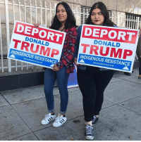 "Ass, Memes, and Yo: DEPORT  TRUMP  DEPORT  TRUMP  DONALD  DONALD  INDIGENOUS RESISTANCE  INDIGENOUS RESISTANCE I need this lawn sign for the next 3 years DeportTrump FuckTrump Rp @_baadfish: ""Fuck yo sexist ass president"""