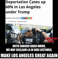 America, Facebook, and Instagram: Deportation Cases up  60% in Los Angeles  under Trump  SPREAD THE WORD:  Do Patrick MeNanie OFriday, July 21, 2017  CE  POLICE  MERICAW  FURY  WITH ENOUGH HARD WORK,  WE MAY RECLAIM LA IN OUR LIFETIMES.  MAKE LOS ANGELES GREAT AGAIN Boiiii 🤔🤔🤔 ICE immigrationandcustomsenforcement deported trumpmemes liberals libbys democraps liberallogic liberal maga conservative constitution presidenttrump resist thetypicalliberal typicalliberal merica america stupiddemocrats donaldtrump trump2016 patriot trump yeeyee presidentdonaldtrump draintheswamp makeamericagreatagain trumptrain triggered CHECK OUT MY WEBSITE AND STORE!🌐 thetypicalliberal.net-store 🥇Join our closed group on Facebook. For top fans only: Right Wing Savages🥇 Add me on Snapchat and get to know me. Don't be a stranger: thetypicallibby Partners: @theunapologeticpatriot 🇺🇸 @too_savage_for_democrats 🐍 @thelastgreatstand 🇺🇸 @always.right 🐘 @keepamerica.usa ☠️ @republicangirlapparel 🎀 @drunkenrepublican 🍺 TURN ON POST NOTIFICATIONS! Make sure to check out our joint Facebook - Right Wing Savages Joint Instagram - @rightwingsavages