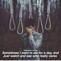 @Depression storage  Sometimes I want to die for a day, and  Just watch and see who really cares Found on facebook
