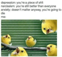 meirl: depression: you're a piece of shit  narcissism: you're still better than everyone  anxiety: doesn't matter anyway, you're going to  die  me: meirl