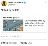 """Abc, Blackpeopletwitter, and Fire: deray mckesson  @deray  """"killed by bullet""""  ABC News@ABC  California teen killed by  bullet after LA County  deputies open fire on..  6:41 PM Jun 22, 2017  23,058 Retweets  33,620 Likes <p>Guns don&rsquo;t kill people, people kill people, therefore, cops aren&rsquo;t people (via /r/BlackPeopleTwitter)</p>"""