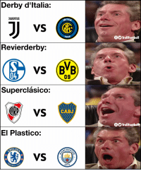 Memes, 🤖, and Weekend: Derby d'ltalia:  JUUENTUS  NTER  7908  fOTrollFootball  Revierderby:  vs (BB  04  09  Superclásico:  R VS  CABJ  OO TrollFootbatt  El Plastico:  ELSE  CHES  18  94  0  CITY  BALL This weekend 😍😍 https://t.co/mzPmSEf76Y