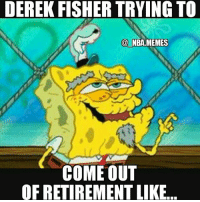 Reports say that former 18 year NBA veteran & 41 year old Derek Fisher might be trying to make an NBA comeback if teams are interested. He hasn't played since the 2013-2014 season but hey props to him if he can still make a team 😂👌 Double tap and tag some friends below! 👍⬇: DEREK FISHER TRYING TO  NBA MEMES  COME OUT  OFRETIREMENTLIKE. Reports say that former 18 year NBA veteran & 41 year old Derek Fisher might be trying to make an NBA comeback if teams are interested. He hasn't played since the 2013-2014 season but hey props to him if he can still make a team 😂👌 Double tap and tag some friends below! 👍⬇