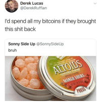 Bruh, Shit, and Back: Derek Lucas  @DerekRuffian  I'd spend all my bitcoins if they brought  this shit back  Sonny Side Up @Sonny5ideUp  bruh  ALTOIDS @sonny5ideup @champagneemojis