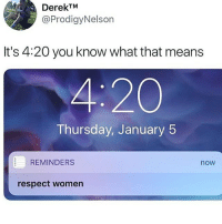 Respecting Wamen is not a meme it is a duty: DerekTM  @ProdigyNelson  It's 4:20 you know what that means  4:20  Thursday, January 5  REMINDERS  now  respect women Respecting Wamen is not a meme it is a duty