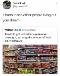 @donny.drama is one of my favourite accounts: Derrick  @ayosworldd  It hurts to see other people living out  your dream  MUNCHIES@munchies  Two kids get locked in supermarket  overnight, eat ungodly amount of food  bit.ly/2i5U6Qo @donny.drama is one of my favourite accounts