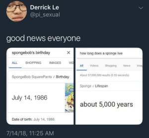 Birthday, News, and Shopping: Derrick Le  @pi_sexual  good news everyone  spongebob's birthday  ><  how long does a sponge live  ALL  SHOPPING  IMAGES V  VID  All Videos hopping News Ima  About 37,000,000 results (0.53 seconds)  SpongeBob SquarePants Birthday  Sponge Lifespan  July 14, 1986  about 5,000 years  Date of birth: July 14, 1986  7/14/18, 11:25 AM We're safe!