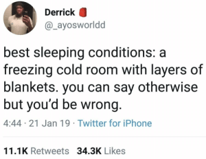 Iphone, Twitter, and Best: Derrick O  @_ayosworldd  best sleeping conditions: a  freezing cold room with layers of  blankets. you can say otherwise  but you'd be wrong  4:44 21 Jan 19 Twitter for iPhone  11.1K Retweets 34.3K Likes Y'all agree with this?! 🤔👇 https://t.co/5dDtV0qXS8