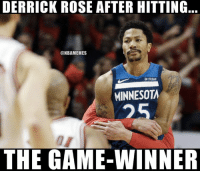 A cherry on top of a 29-point half 🌹  WATCH: bit.ly/RoseForTheWin: DERRICK ROSE AFTER HITTING  @NBAMEMES  fitbit  MINNESOTA  25  THE GAME-WINNER A cherry on top of a 29-point half 🌹  WATCH: bit.ly/RoseForTheWin