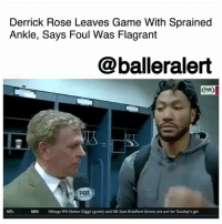 "Derrick Rose Leaves Game With Sprained Ankle, Says Foul Was Flagrant – blogged by @MsJennyb ⠀⠀⠀⠀⠀⠀⠀ ⠀⠀⠀⠀⠀⠀⠀ In the second game of the 2017-18 NBA regular season, DerrickRose left with a sprained left ankle after being hit by Bucks center GregMonroe. ⠀⠀⠀⠀⠀⠀⠀ ⠀⠀⠀⠀⠀⠀⠀ In the fourth quarter of the ClevelandCavaliers' first road win of the season, Rose went up for a reverse layup, when Monroe caught him around the neck in an attempt to contest the shot. When Rose came back down, his left ankle twisted, forcing the sprain. But, oddly enough, a flagrant was not called for the hard hit, as the refs claimed Monroe ""didn't do it with any intent."" ⠀⠀⠀⠀⠀⠀⠀ ⠀⠀⠀⠀⠀⠀⠀ ""I think I'm the only person in the league that's not getting a flagrant for that call, bro,"" Rose said before leaving the game. ""Come on, man. Like, I'm sure I'm the only player, but it is what it is. ….That's a common foul. Wow. Come on."" ⠀⠀⠀⠀⠀⠀⠀ ⠀⠀⠀⠀⠀⠀⠀ As a result of Rose's injury, Cavs Coach Tyronn Lue said Rose will probably miss the end of Cleveland's back-to-back against the Orlando Magic, ESPN reports. ⠀⠀⠀⠀⠀⠀⠀ ⠀⠀⠀⠀⠀⠀⠀ ""Just got to see how he feels,"" Lue said. ""It doesn't look good right now."" ⠀⠀⠀⠀⠀⠀⠀ ⠀⠀⠀⠀⠀⠀⠀ ""I mean, it's a sprain,"" Rose said after the game. ""It is what it is. There's nothing I can do about that. Take me out [in] the air, kind of twisted my ankle when I came down. So, get a lot of treatment and see how it feels Saturday."" ⠀⠀⠀⠀⠀⠀⠀ ⠀⠀⠀⠀⠀⠀⠀ ""I haven't had any problems with my ankle in a long time,"" Rose added. ""I don't even wear braces anymore, which lets you know. So, I haven't had any problems with it. Now, just got to make sure I get treatment, and if anything, I don't lose the conditioning that I've built up and that I have right now. I'm in great shape right now, so I'll be back."": Derrick Rose Leaves Game With Sprained  Ankle, Says Foul Was Flagrant  @balleralert  Eox  FOX  NFL  MIN  Vikings WR Stefon Diggs (groin) and QB Sam Bradford (knee) are out for Sunday's gar Derrick Rose Leaves Game With Sprained Ankle, Says Foul Was Flagrant – blogged by @MsJennyb ⠀⠀⠀⠀⠀⠀⠀ ⠀⠀⠀⠀⠀⠀⠀ In the second game of the 2017-18 NBA regular season, DerrickRose left with a sprained left ankle after being hit by Bucks center GregMonroe. ⠀⠀⠀⠀⠀⠀⠀ ⠀⠀⠀⠀⠀⠀⠀ In the fourth quarter of the ClevelandCavaliers' first road win of the season, Rose went up for a reverse layup, when Monroe caught him around the neck in an attempt to contest the shot. When Rose came back down, his left ankle twisted, forcing the sprain. But, oddly enough, a flagrant was not called for the hard hit, as the refs claimed Monroe ""didn't do it with any intent."" ⠀⠀⠀⠀⠀⠀⠀ ⠀⠀⠀⠀⠀⠀⠀ ""I think I'm the only person in the league that's not getting a flagrant for that call, bro,"" Rose said before leaving the game. ""Come on, man. Like, I'm sure I'm the only player, but it is what it is. ….That's a common foul. Wow. Come on."" ⠀⠀⠀⠀⠀⠀⠀ ⠀⠀⠀⠀⠀⠀⠀ As a result of Rose's injury, Cavs Coach Tyronn Lue said Rose will probably miss the end of Cleveland's back-to-back against the Orlando Magic, ESPN reports. ⠀⠀⠀⠀⠀⠀⠀ ⠀⠀⠀⠀⠀⠀⠀ ""Just got to see how he feels,"" Lue said. ""It doesn't look good right now."" ⠀⠀⠀⠀⠀⠀⠀ ⠀⠀⠀⠀⠀⠀⠀ ""I mean, it's a sprain,"" Rose said after the game. ""It is what it is. There's nothing I can do about that. Take me out [in] the air, kind of twisted my ankle when I came down. So, get a lot of treatment and see how it feels Saturday."" ⠀⠀⠀⠀⠀⠀⠀ ⠀⠀⠀⠀⠀⠀⠀ ""I haven't had any problems with my ankle in a long time,"" Rose added. ""I don't even wear braces anymore, which lets you know. So, I haven't had any problems with it. Now, just got to make sure I get treatment, and if anything, I don't lose the conditioning that I've built up and that I have right now. I'm in great shape right now, so I'll be back."""