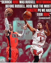 """Do you agree with Shannon? @undisputedonfs1 Tags: Russ OKC NBA: """"DERRICK ROSE WAS RUSSELL WESTBROOK  BEFORE RUSSELL. ROSE WAS THE MOST  THLETIC PG WE HAD  EVER SEEN.""""  -SHANNON SHARPE  1  OK  ULLS  SKIP  SHANNON Do you agree with Shannon? @undisputedonfs1 Tags: Russ OKC NBA"""
