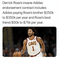 Respect to DRose for looking out 💯🙏🏽🔥 - Follow @_nbamemes._: Derrick Rose's insane Adidas  endorsement contract includes  Adidas paying Rose's brother $250k  to $350k per year and Rose's best  friend $50k to $75k per year.  CaVS Respect to DRose for looking out 💯🙏🏽🔥 - Follow @_nbamemes._