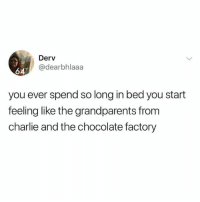 Charlie, Funny, and Chocolate: Derv  @dearbhlaaa  62  you ever spend so long in bed you start  feeling like the grandparents from  charlie and the chocolate factory