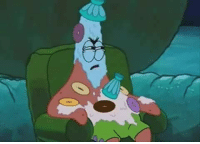 Describe a SpongeBob picture. This is Patrick, his friend dumped his icecream he had in his suitcase on him.: Describe a SpongeBob picture. This is Patrick, his friend dumped his icecream he had in his suitcase on him.