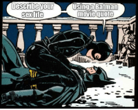 Swear to me!: Describe your Using a Batman  movie quote  sex life Swear to me!