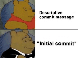 "King of commits: Descriptive  commit message  ""Initial commit""  imgflip.com King of commits"