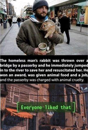 Wholesome 100: DESENHAMS  30  The homeless man's rabbit was thrown over a  bridge by a passerby and he immediately jumped  in to the river to save her and resuscitated her. He  won an award, was given animal food and a job,  and the passerby was charged with animal cruelty.  Everyone 1iked that Wholesome 100