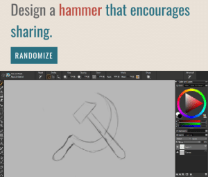 pens: Design a hammer that encourages  sharing.  RANDOMIZE  Opacity  Advanced  Racat  Stroka  Cize  Grain  Madia  Shape  Pens and Penciis  7%T  Real 2B Pencl  509T  65%  Rocat  Eloadt  Color ard Layers  Color Mia Calor Sct Librarik  0  Harmonies  Layers Channels  Default  lqnare  T00  4 Luy 1  Lanvac