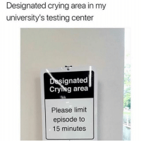 Crying, Memes, and 🤖: Designated crying area in my  university's testing center  ignated  Crying area  Please limit  episode to  15 minutes @girlwithnojob slaying it as usual!