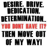 determination: DESIRE, DRIVE,  DEDICATION.  DETERMINATION  YOU DONT HAVE IT?  THEN MOVE OUT  OF MY WAY