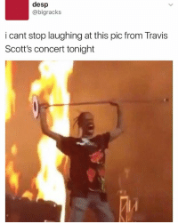 DoodleBob, Funny, and SpongeBob: desp  @bigracks  i cant stop laughing at this pic from Travis  Scott's concert tonight He really look like Doodlebob from spongebob 😂 Mihoyminoy