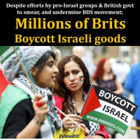 """Memes, Israel, and Britain: Despite efforts by pro-Israel groups & British govt  to smear, and undermine BDS movement;  Millions of Brits  Boycott Israeli goods  BOYCOTT  www.INMIND  fbhlsraelWC BICOM (Britain Israel Communications & Research Centre) breathlessly announced that """"the number of #British people who do not support economic #boycotts of #Israel has soared over the last year, according to exclusive new polling."""" #BDS https://www.middleeastmonitor.com/20161110-millions-of-brits-back-boycott-finds-poll-commissioned-by-israel-lobby-group/"""