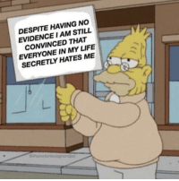 Life, Irl, and Me IRL: DESPITE HAVING NO  EVIDENCE I AM STILL  CONVINCED THAT  EVERYONE IN MY LIFE  SECRETLY HATES ME  theno me_irl