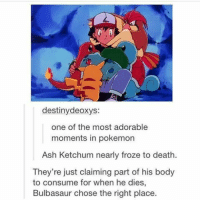 Anime, Ash, and Bulbasaur: destiny deoxys:  one of the most adorable  moments in pokemon  Ash Ketchum nearly froze to death.  They're just claiming part of his body  to consume for when he dies,  Bulbasaur chose the right place. Give it to Pokemon fans to twist an adorable moment 😠 - Sent in by @Emily_landry03 who is now a FunnyPokemonAmbassador ! Thanks! ___________ Want to become an official Funny Pokemon Ambassador too? Then DM us your best and funniest pokemon memes to feature 😀 ___________ pokemon nintendo anime art geek deviantart pokemonart videogames comics pikachu meme draw dankmemes pokemoncards followme gamer gaming pokemontcg dank pokemongo pokemonmemes squirtle likeme lol disney nintendoswitch bulbasaur charmander
