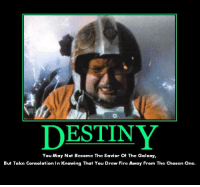 destiny: DESTINY  You May Not Become The Savior of The Galaxy,  But Take Consolation  in Knowing That You Drew Fire Away From The Chosen One