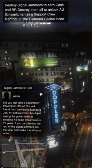 You can get avi as a crew member: Destroy Signal Jammers to earn Cash  and RP. Destroy them all to unlock Avi  Schwartzman as a Support Crew  Member in The Diamond Casino Heist.  HOTEL  4ISS MY AKE  Signal Jammers: 1/50  Lester  Did you just take a SecuroServ  transmitter offline? Our old  friend from the Pacific Standard  Job, Avi Schwartzman, has been  saying the government is  blocking his radio transmissions  for years. If you can destroy the  rest of the signal jammers like  that one, he'll make it worth your  while.  00PPLER You can get avi as a crew member