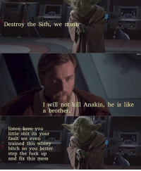 Well ok then. That's one way of putting it. StarWars RevengeOfTheSith: Destroy the Sith, we must  I will not kill Anakin, he is like  a brother.  listen here you  little shit its your  fault we even  trained this whiny  bitch so you better.  step the fuck up  and fix this mess Well ok then. That's one way of putting it. StarWars RevengeOfTheSith