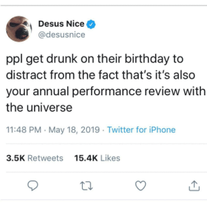 How did you think your past year went? by hootersbutwithcats MORE MEMES: Desus Nice ^  @desusnice  ppl get drunk on their birthday to  distract from the fact that's it's also  your annual performance review with  the universe  11:48 PM - May 18, 2019 Twitter for iPhone  15.4K Likes  3.5K Retweets How did you think your past year went? by hootersbutwithcats MORE MEMES